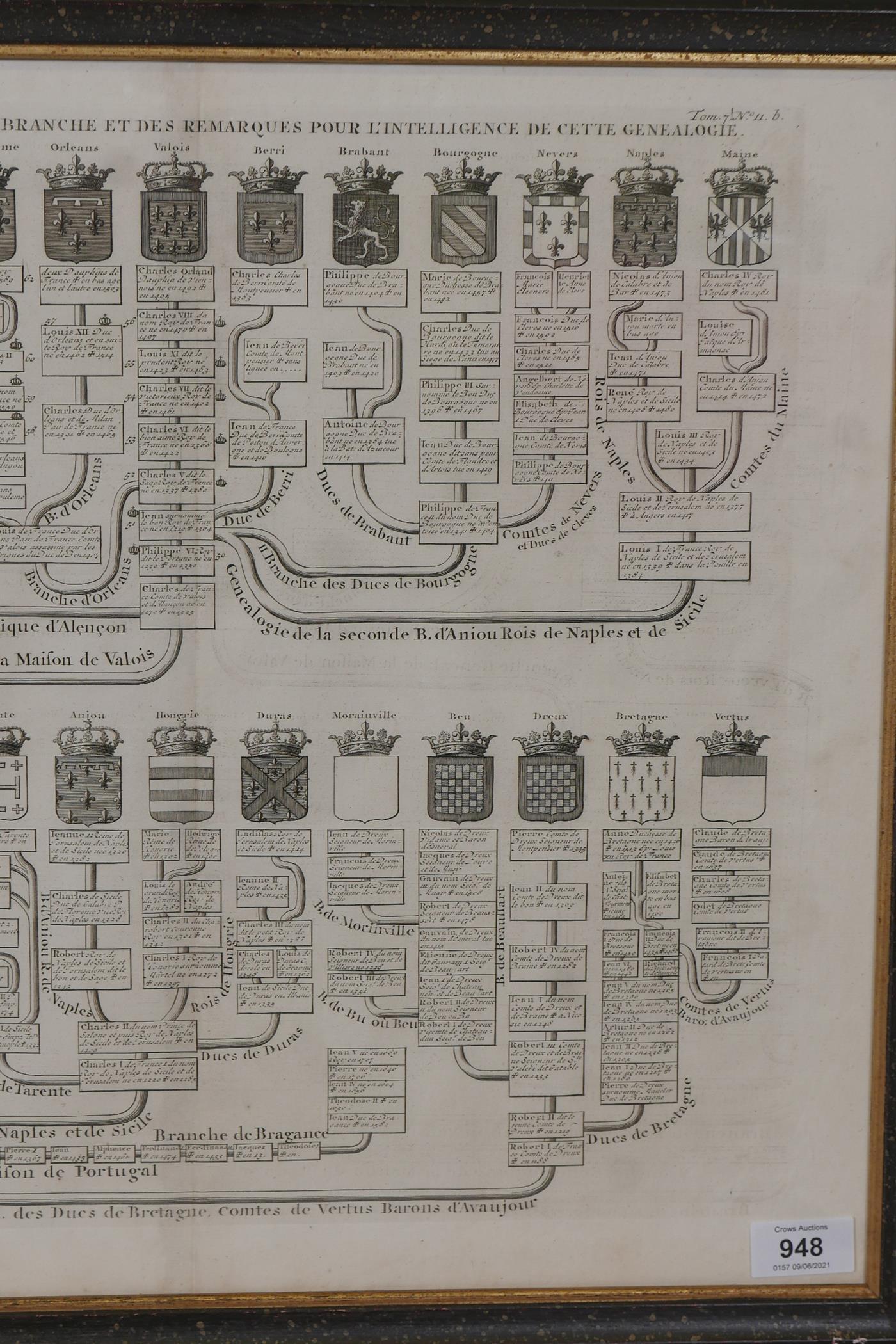 An C18th heraldic engraving, Nouvelle Carte Genealogique, pour servir d'entree a l'histoire de la - Image 7 of 7