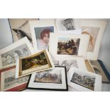 A quantity of C19th prints, engravings and book plates