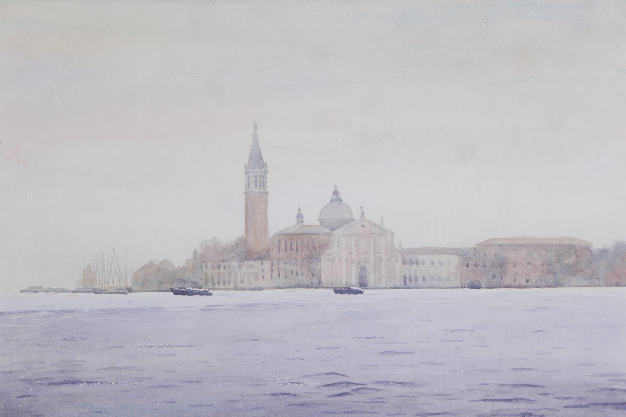 """A colour print of Venice lagoon, Morning mist San Georgio, by Ilana Richardson, 28"""" x 20½"""""""