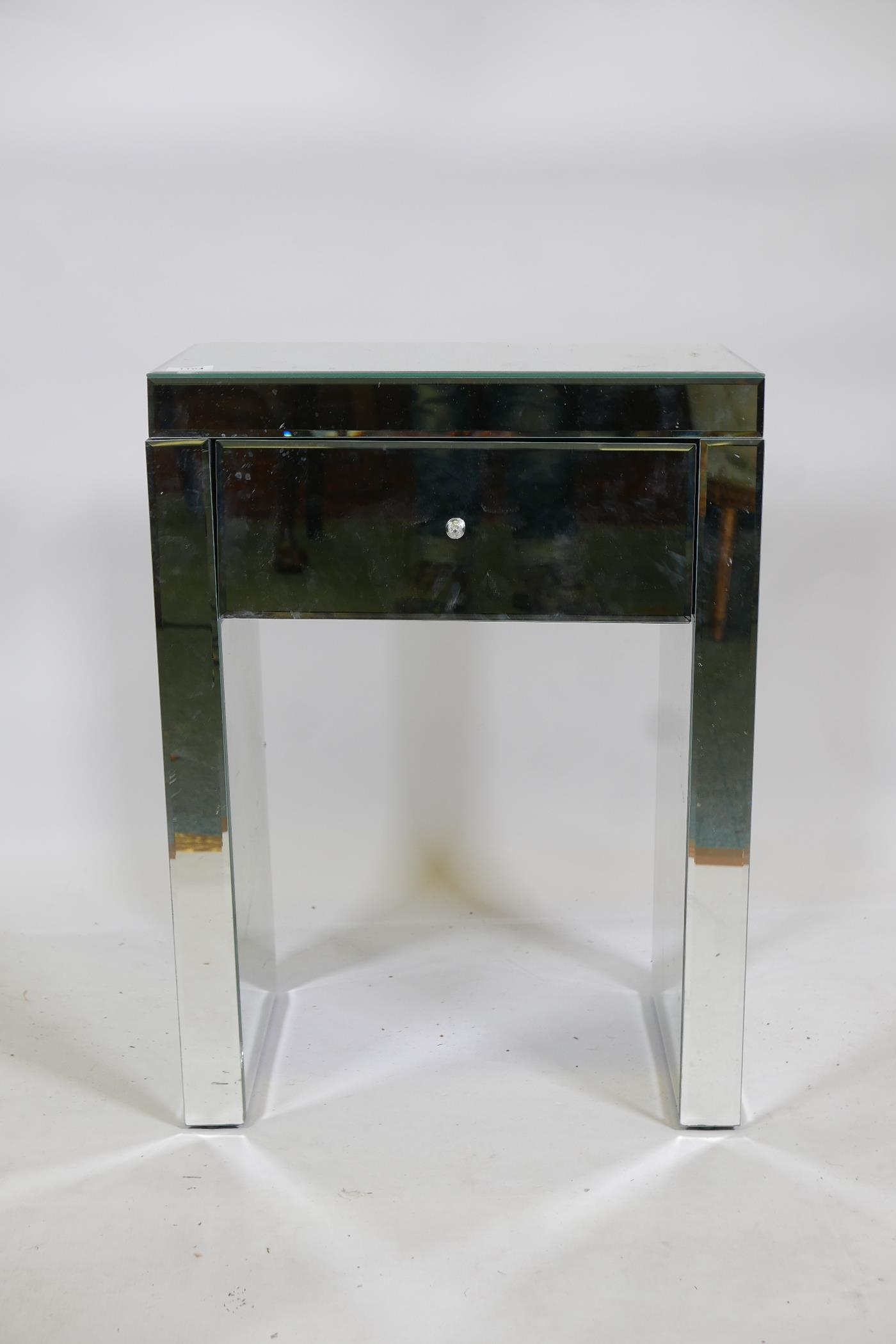 """A contemporary mirrored glass single drawer side table, 20"""" x 13"""" x 26"""""""