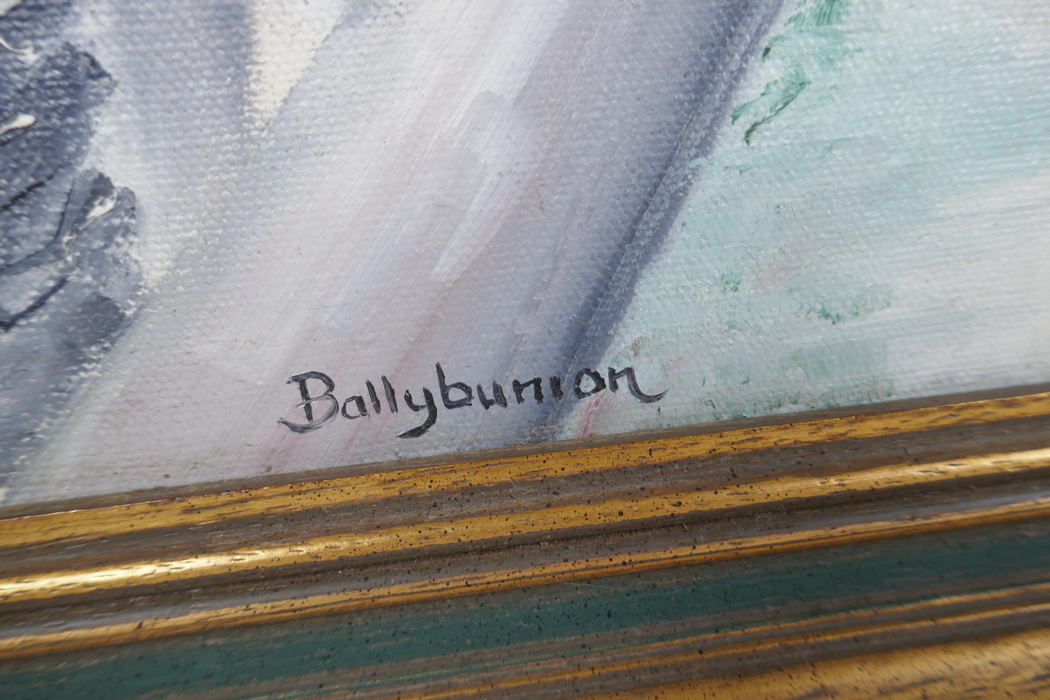 "Anne O' Hara, Irish coastal landscape, titled 'Ballybunion', signed, oil on canvas, 30"" x 18"" - Image 4 of 5"