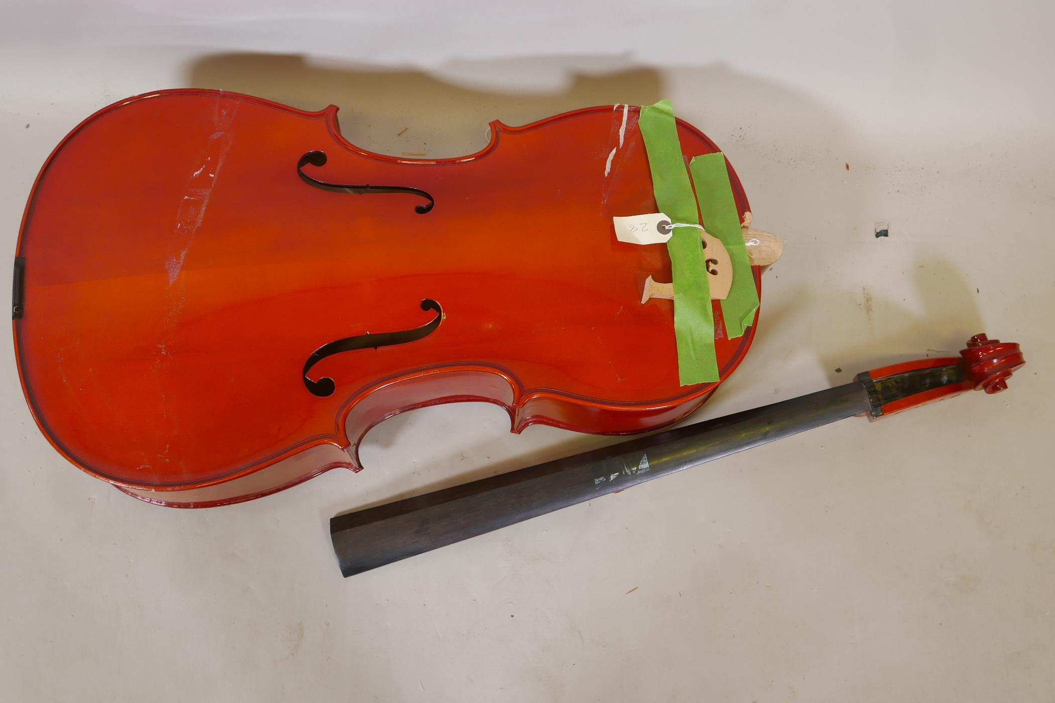 A cello for restoration, no tuning pegs