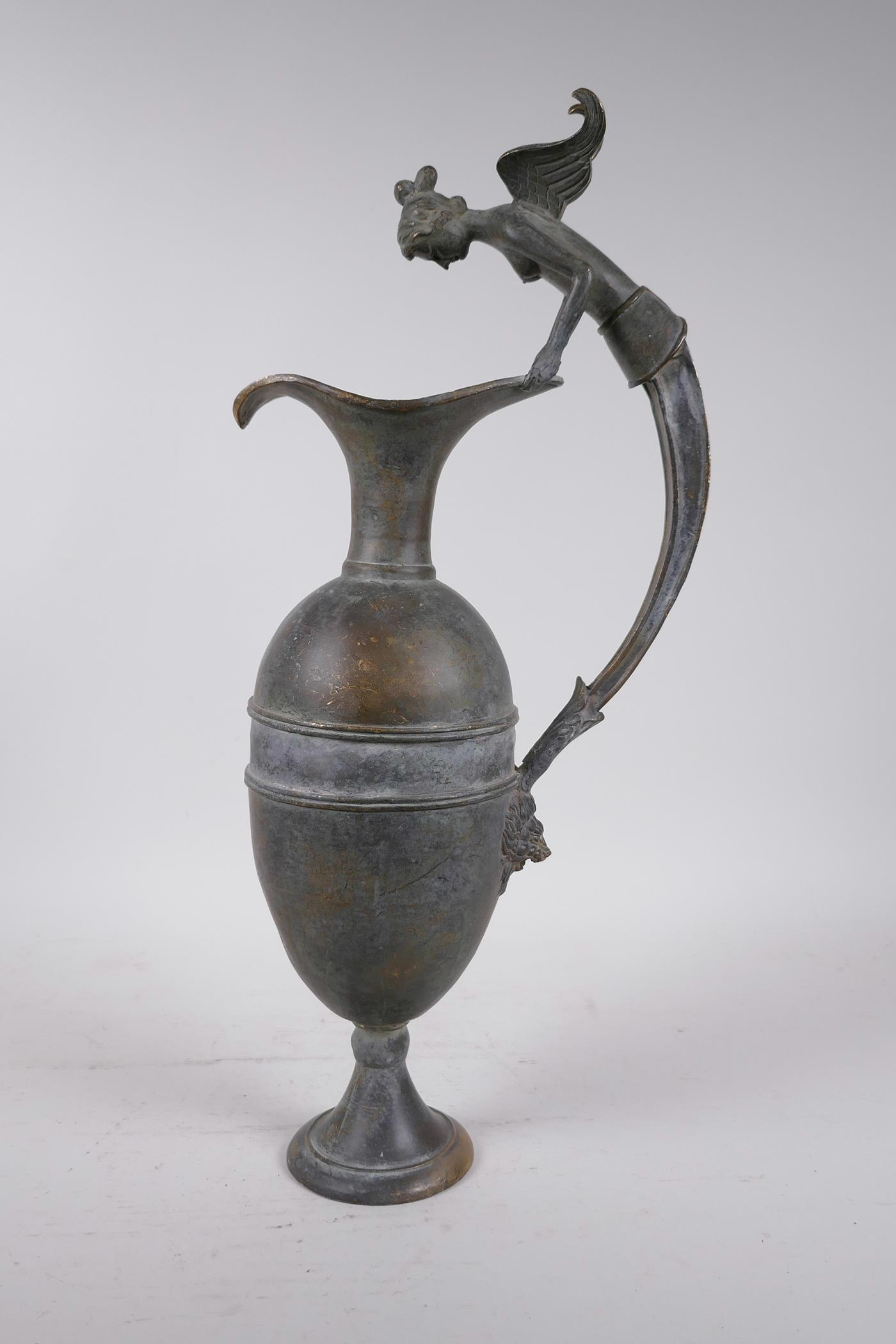 """A Greco-Roman style bronze urn, the handle decorated with the bust of a siren, 18½"""" high - Image 2 of 5"""