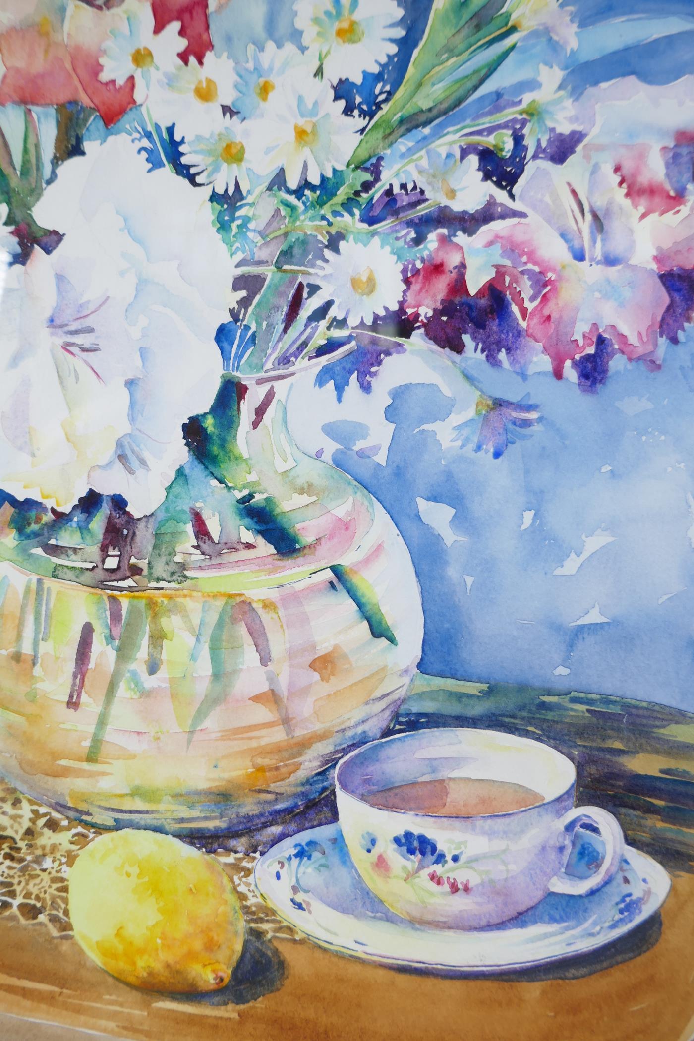"Karen Pearson (British, b.1961), 'Lemon Tea', signed lower left and labelled verso, watercolour, 20"" - Image 3 of 7"