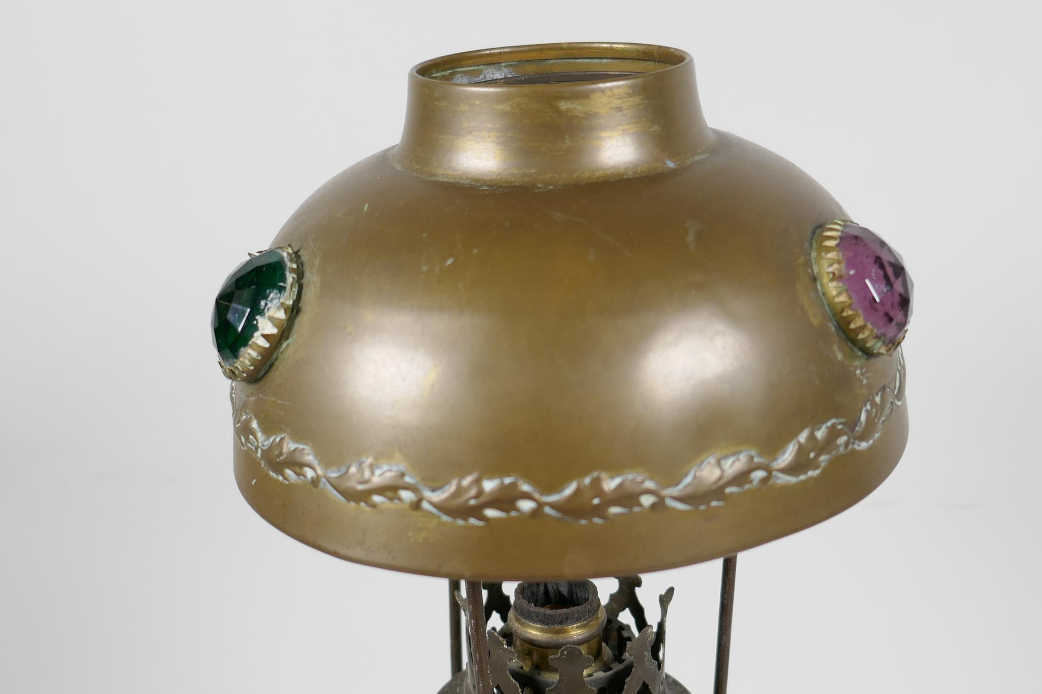"""A brass table lamp with brass shade set with coloured stones, 13"""" high - Image 3 of 3"""