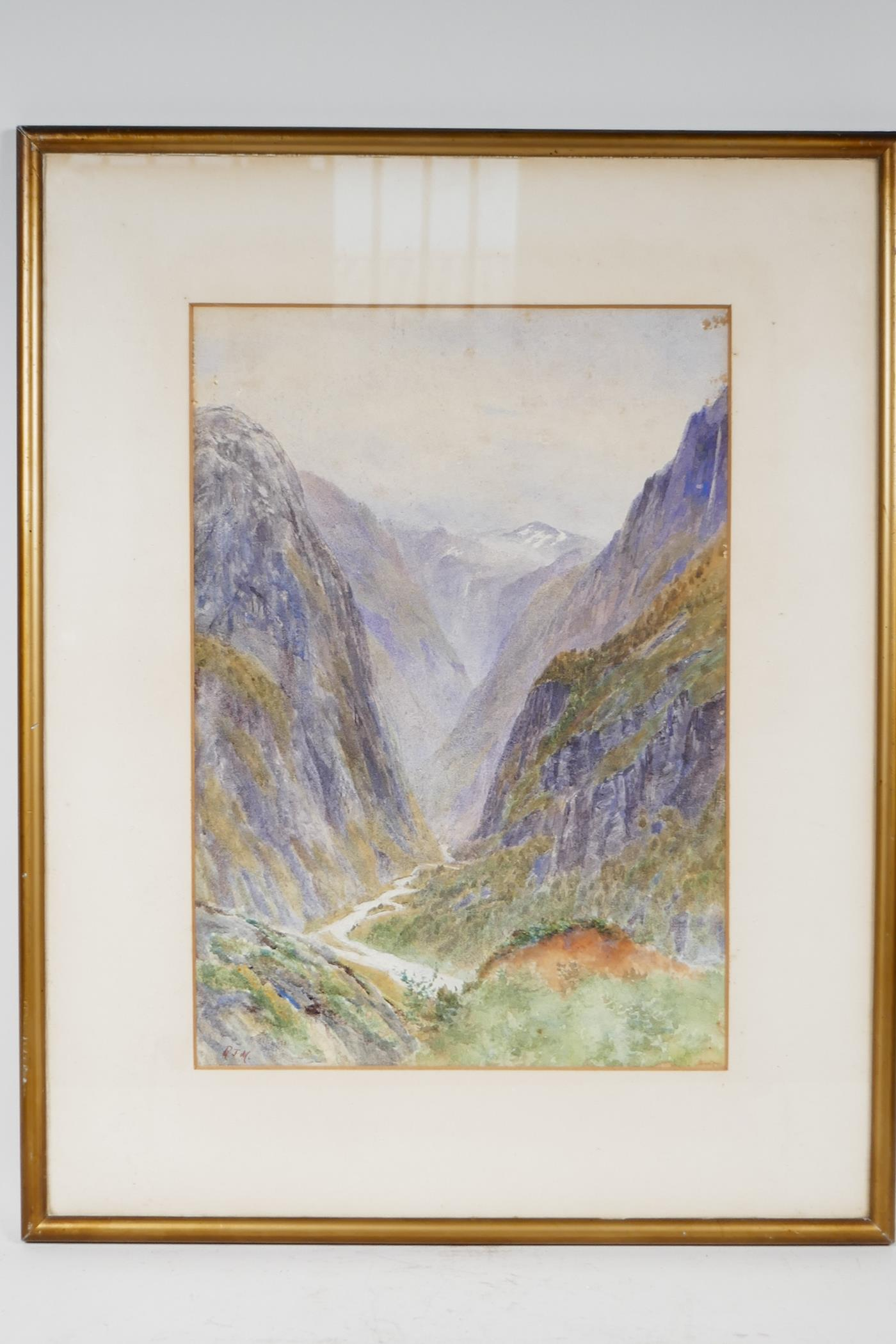 """A watercolour mountain landscape with deep river gorge initialled RJM, 9½"""" x 13½"""", - Image 3 of 4"""