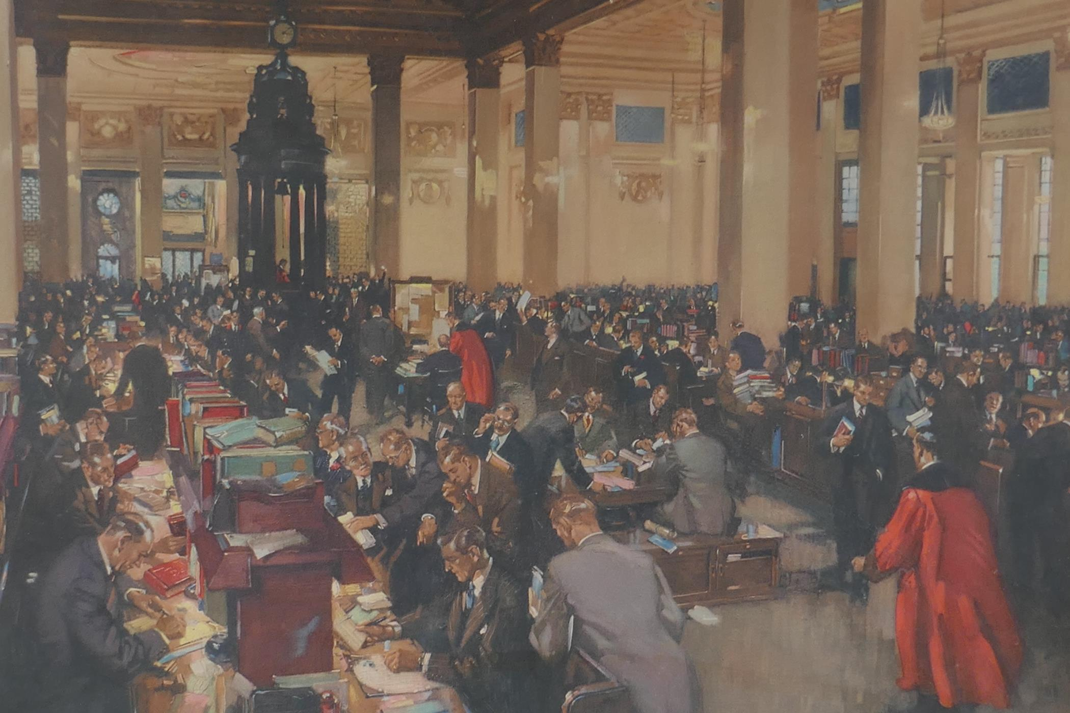 """Terence Cuneo, colour print 'The underwriting room at Lloyds', 23"""" x 20"""", together with an"""