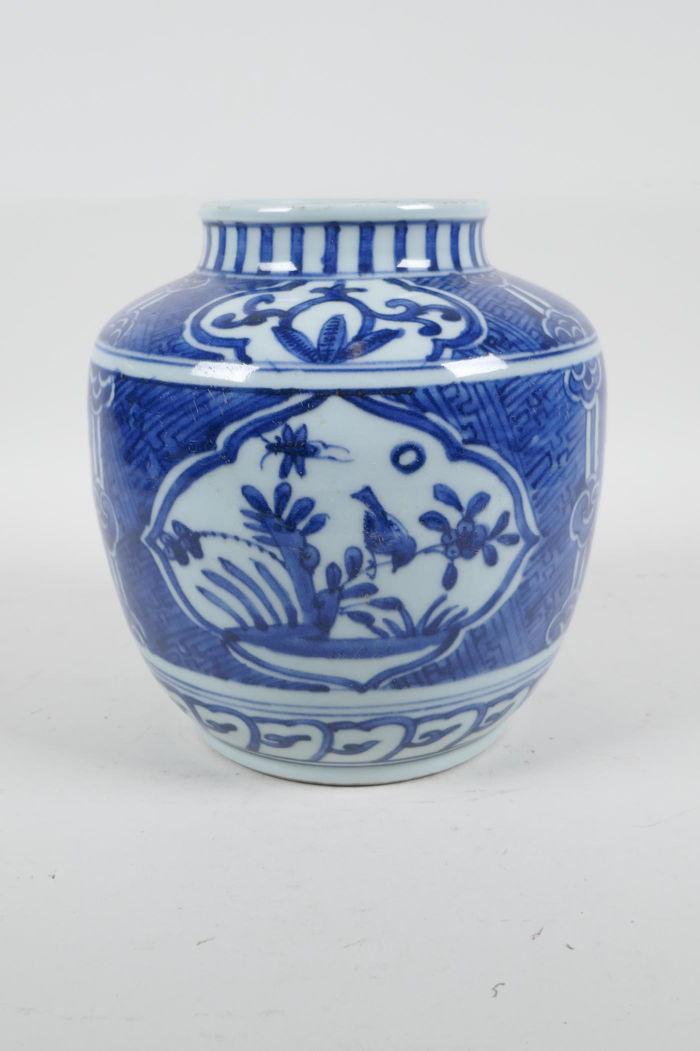 """A Chinese blue and white porcelain pot, with decorative panels depicting birds and flowers, 6½"""" high - Image 3 of 4"""