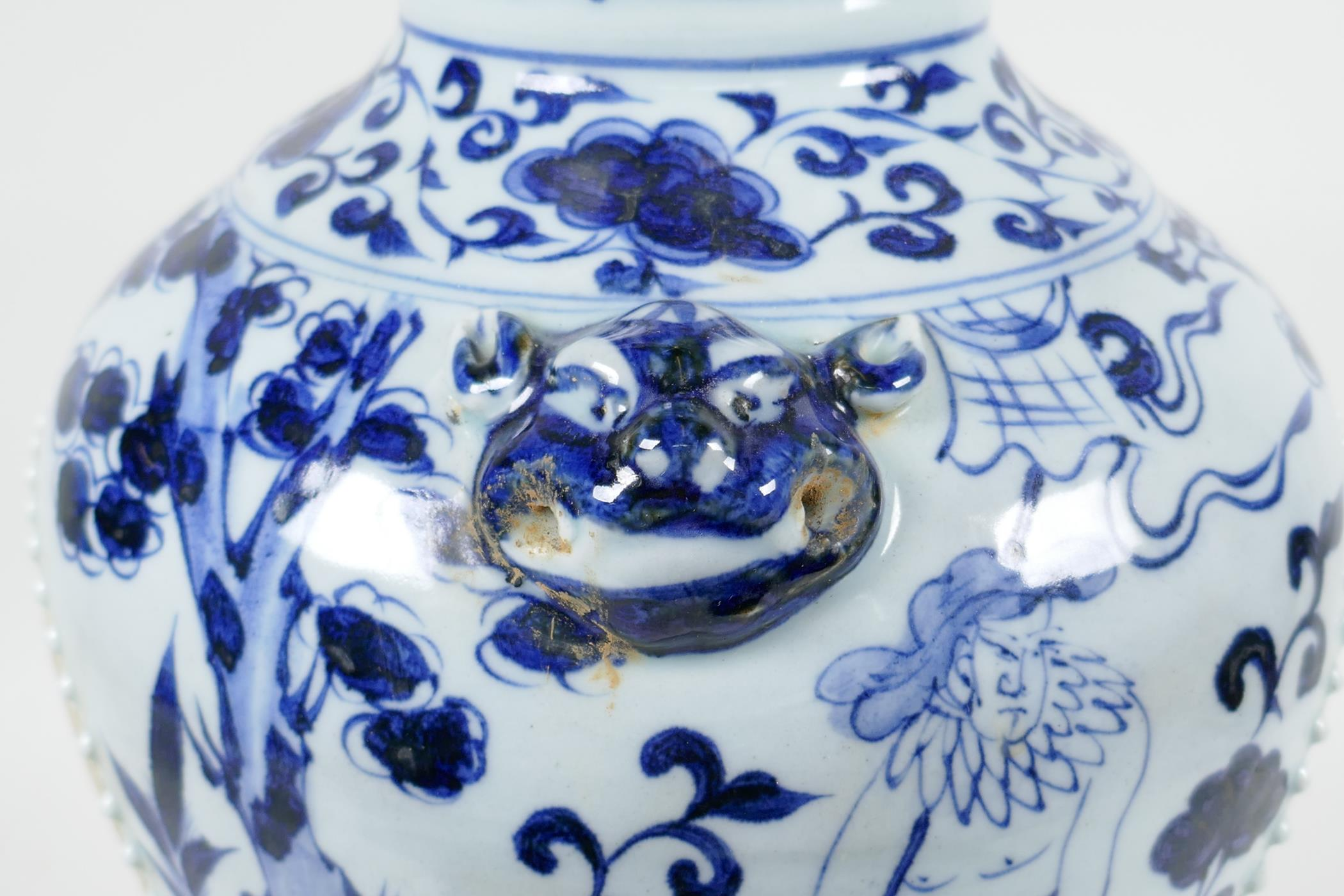 A Chinese blue and white porcelain vase with two lion mask handles, chased decorative panels - Image 7 of 8