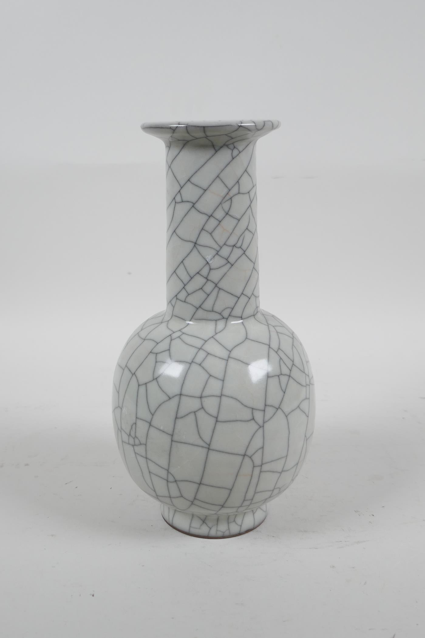 """A Chinese crackleware pottery vase, 8"""" high - Image 3 of 4"""