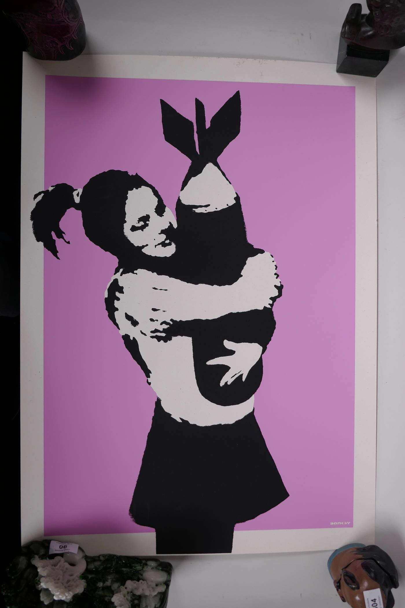 Banksy, 'Bomb Hunger', limited edition print by the West Country Prince, 66/500, with stamps - Image 2 of 6