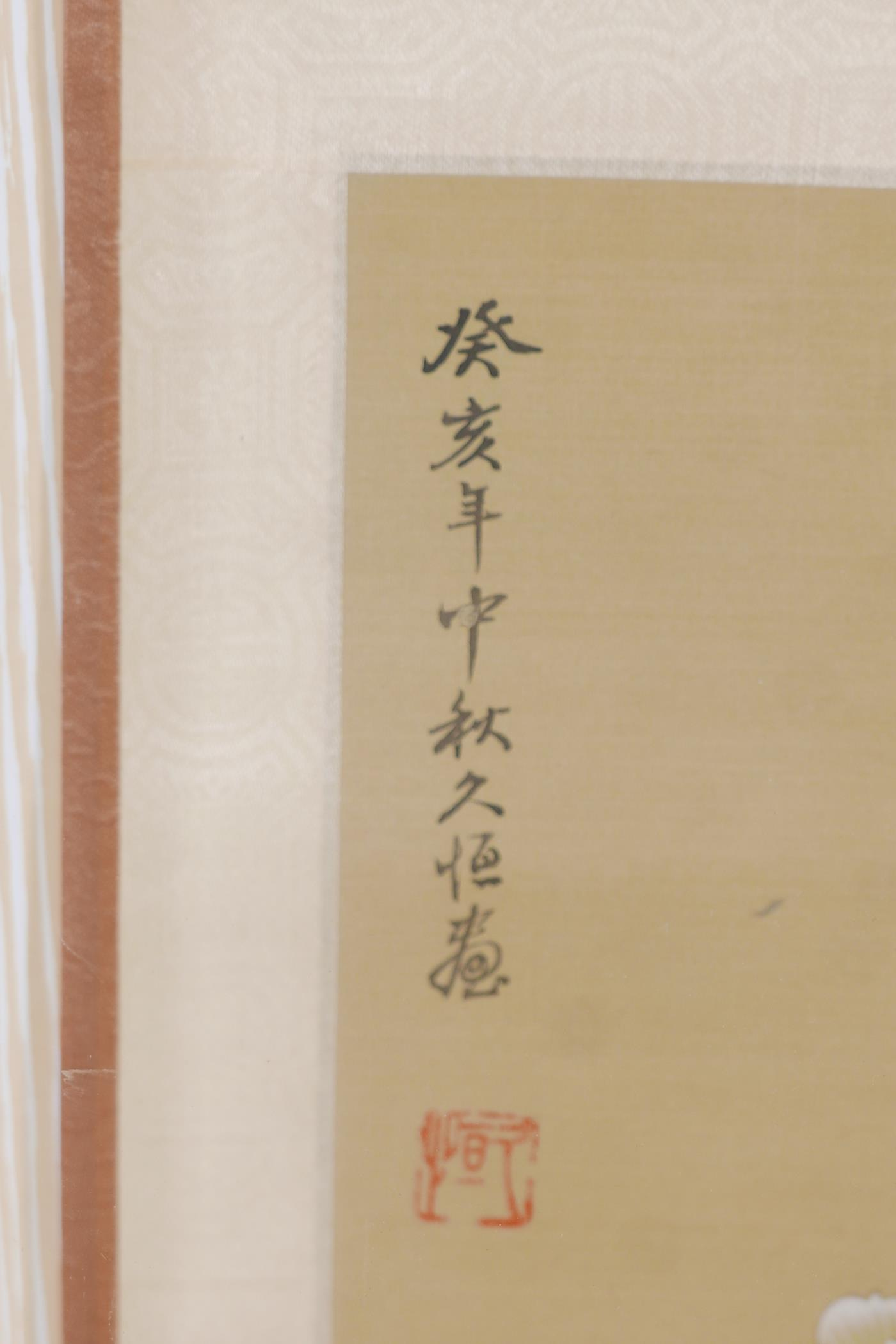 Two framed Chinese scrolls painted with birds and flowers, having inscriptions and red seal marks, - Image 5 of 5