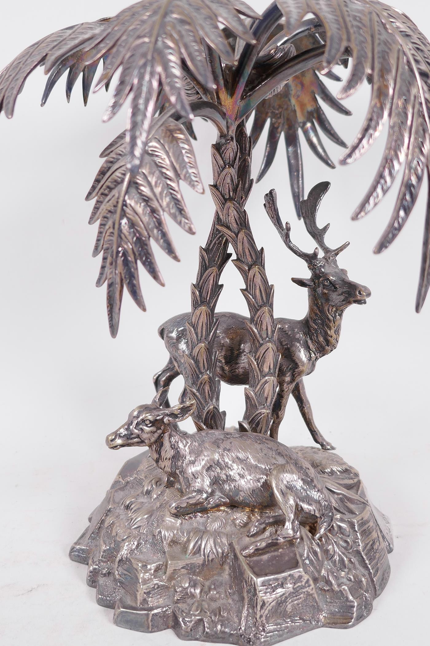 A C19th silver plated table centrepiece formed as deer under a palm tree by Thomas Bradbury and - Image 2 of 6