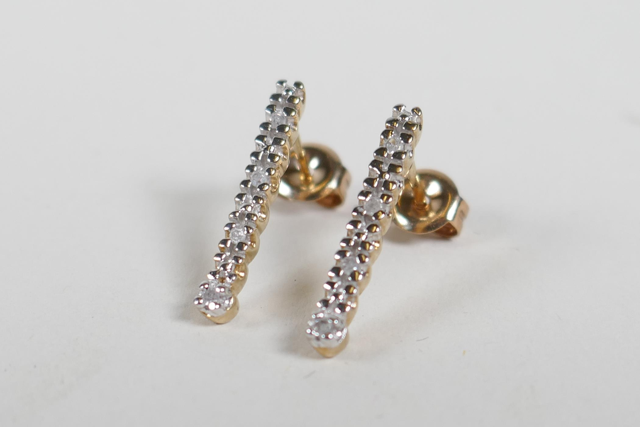 A pair of 9ct yellow gold and diamond set drop earrings - Image 2 of 2