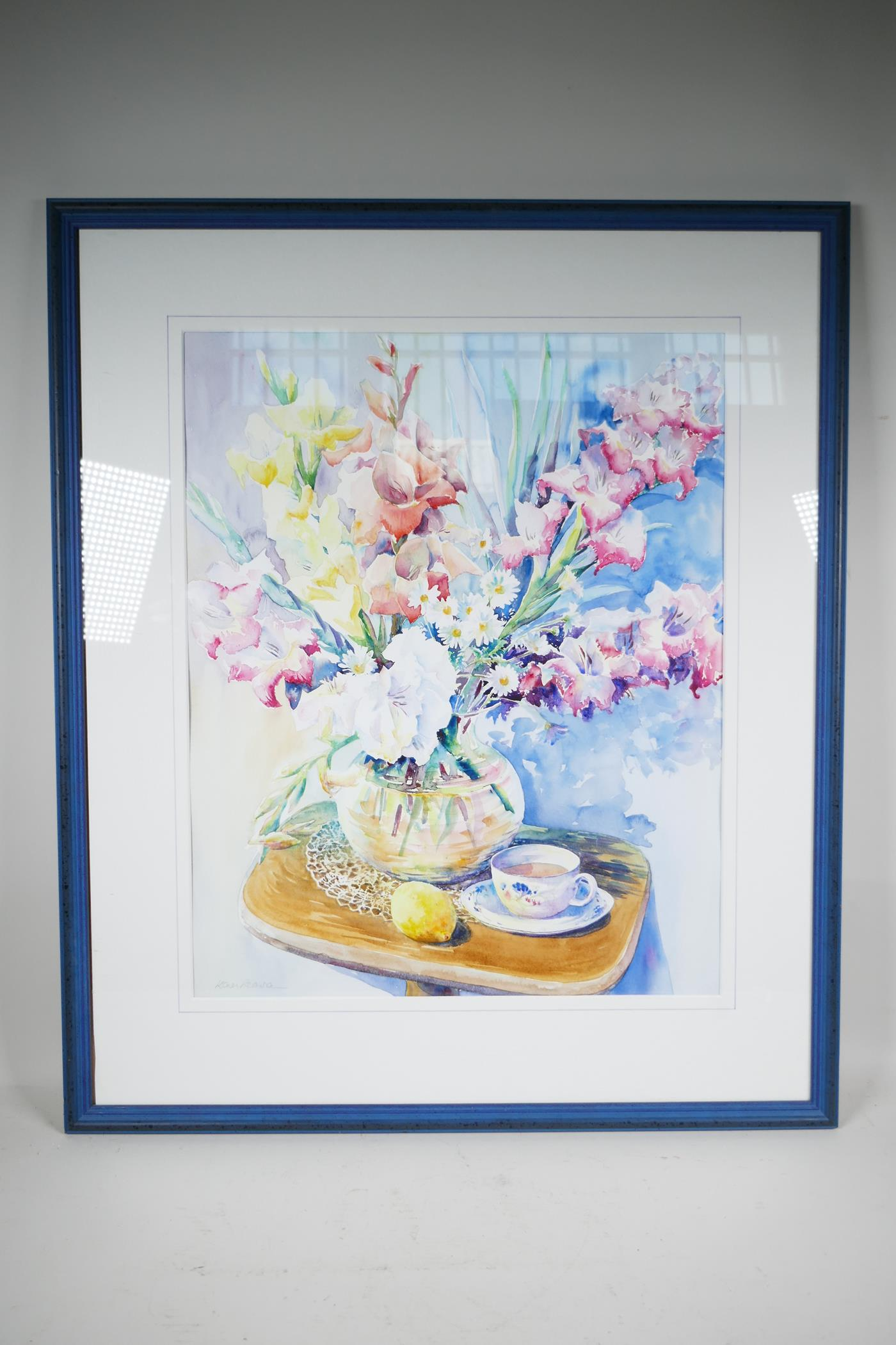 "Karen Pearson (British, b.1961), 'Lemon Tea', signed lower left and labelled verso, watercolour, 20"" - Image 2 of 7"