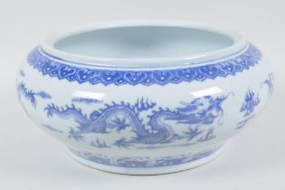 """A Chinese blue and white porcelain bowl painted with herons amongst the reeds, 10"""" diameter ("""