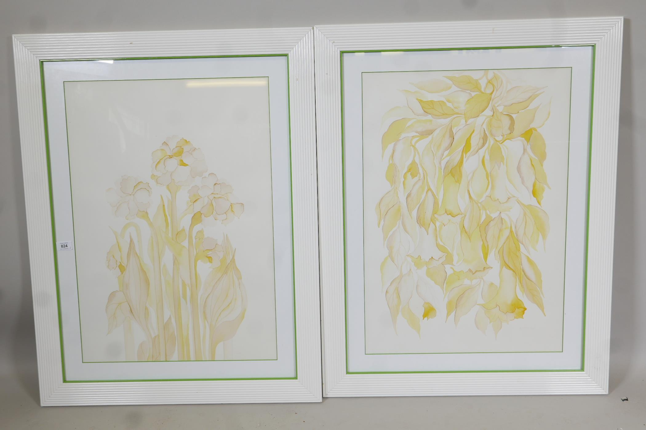 """A pair of contemporary furnishing prints of stylised flowers, 19"""" x 27"""""""