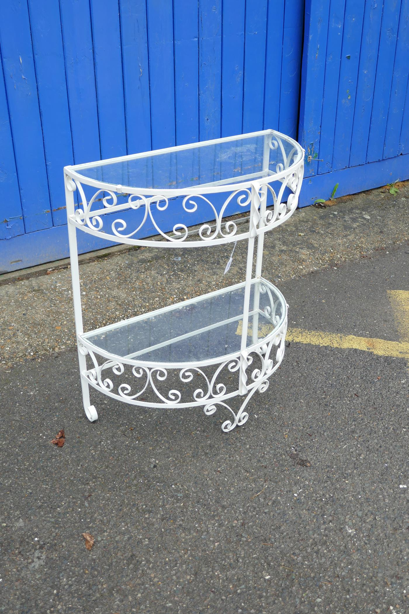 """A painted metal demi-lune two tier garden table, 26"""" x 13"""", 30"""" high - Image 2 of 2"""