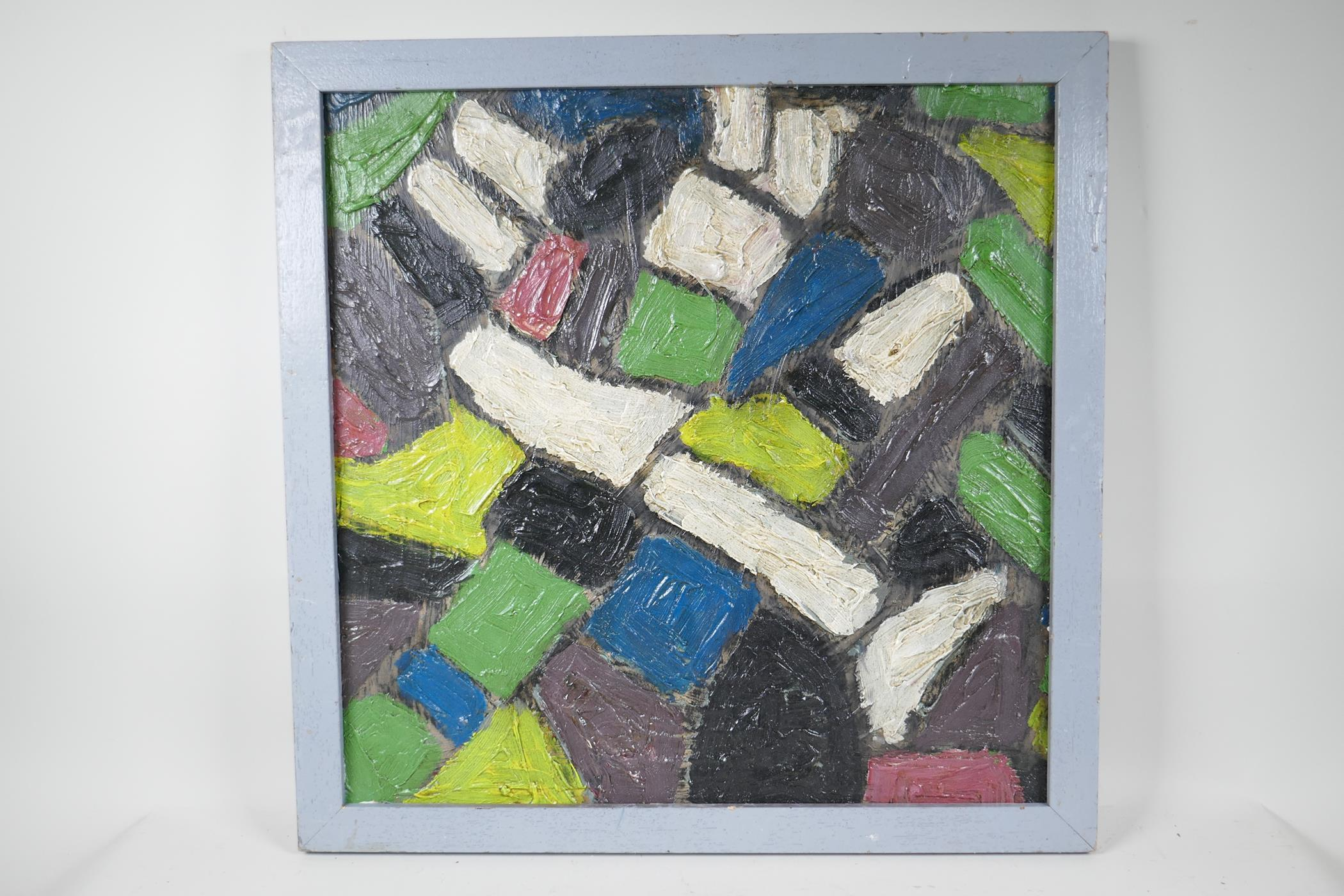 """After Serge Poliakoff, abstract, oil on board, 20"""" x 20"""" - Image 2 of 3"""