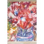"""Red flowers in a bowl, inscribed verso 'Thos. Kennedy', dated 56, oil on board, 20½"""" x 18"""""""