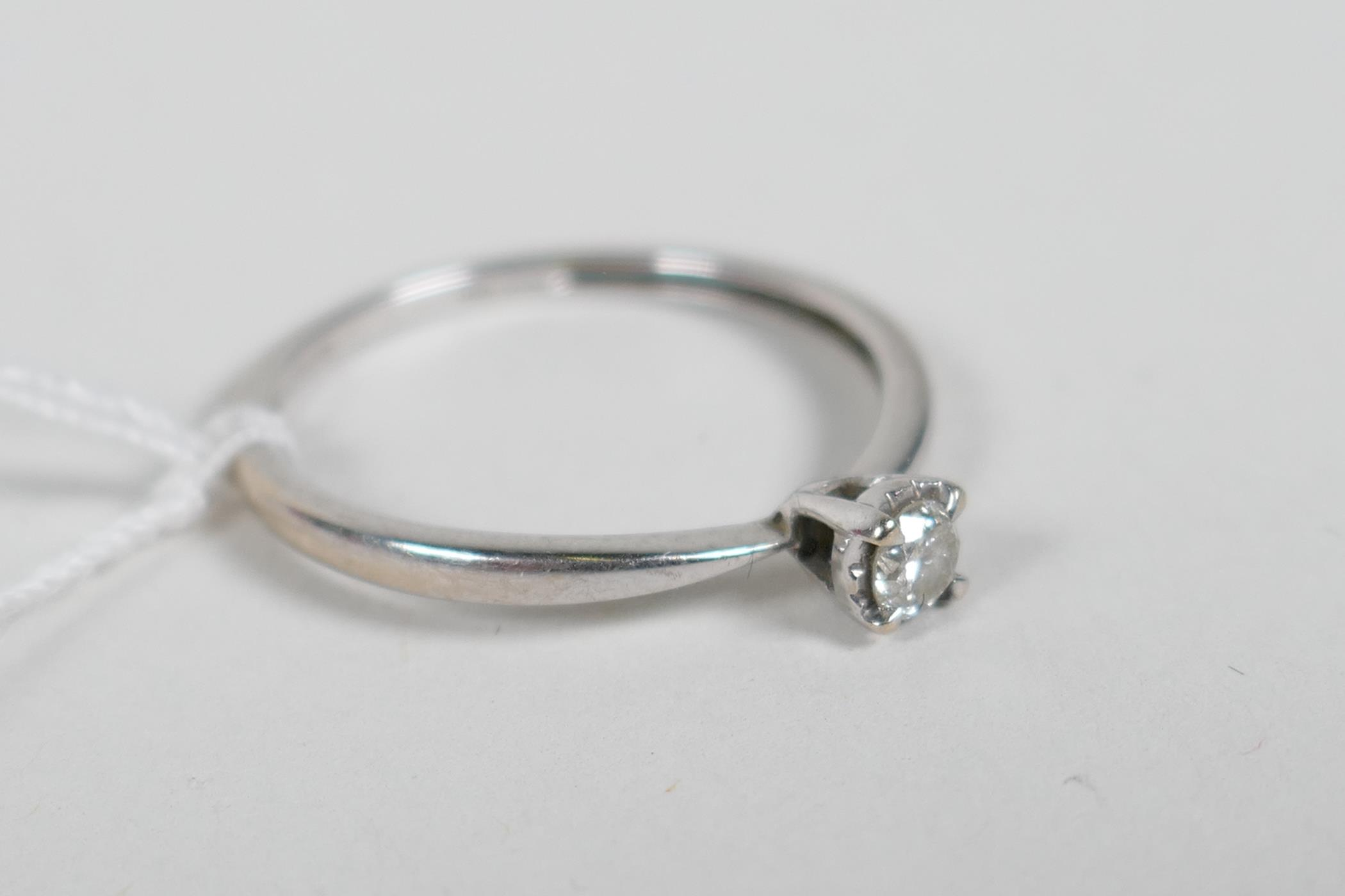 An 18ct white gold and diamond engagement ring, approximate size 'N' - Image 2 of 4