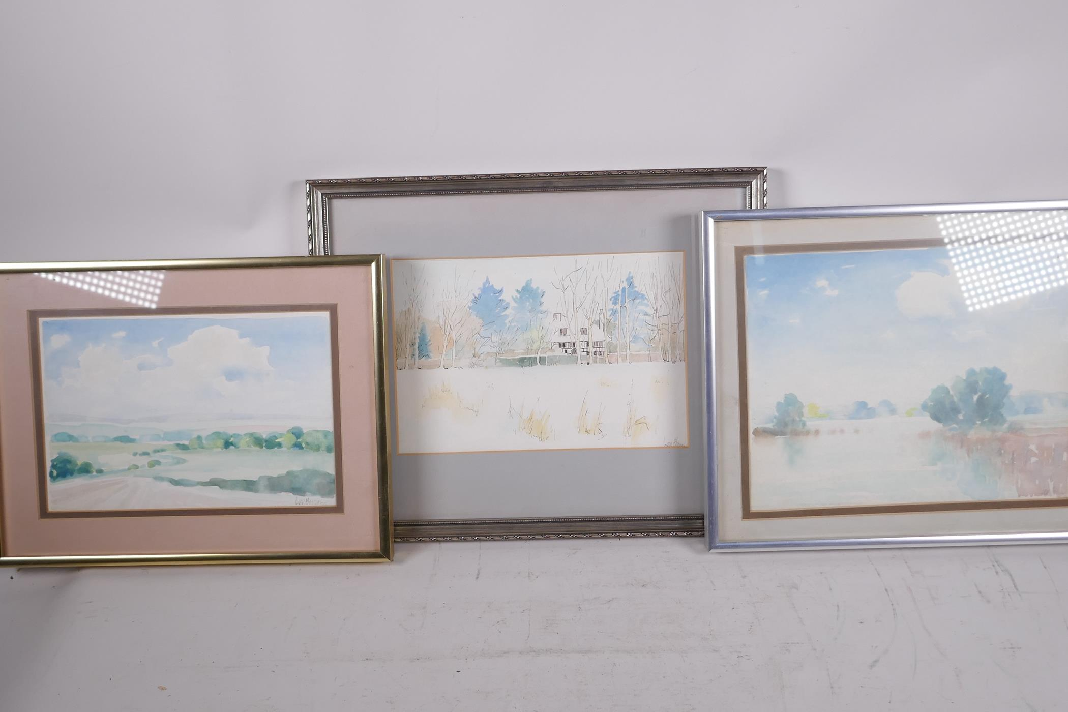 """Lee Brown, three watercolour landscapes, largest 9"""" x 6"""", signed - Image 3 of 4"""