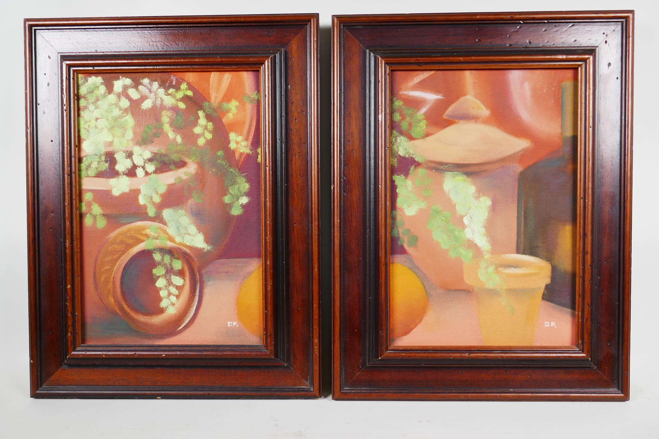 Dara Park (contemporary British), a pair of still lifes featuring terracotta pots and foliage, - Image 2 of 6