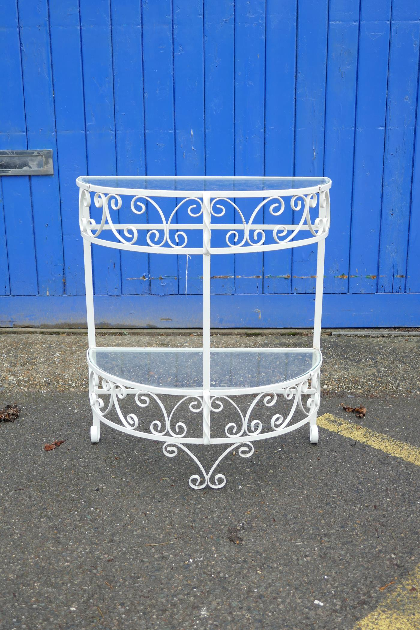 """A painted metal demi-lune two tier garden table, 26"""" x 13"""", 30"""" high"""