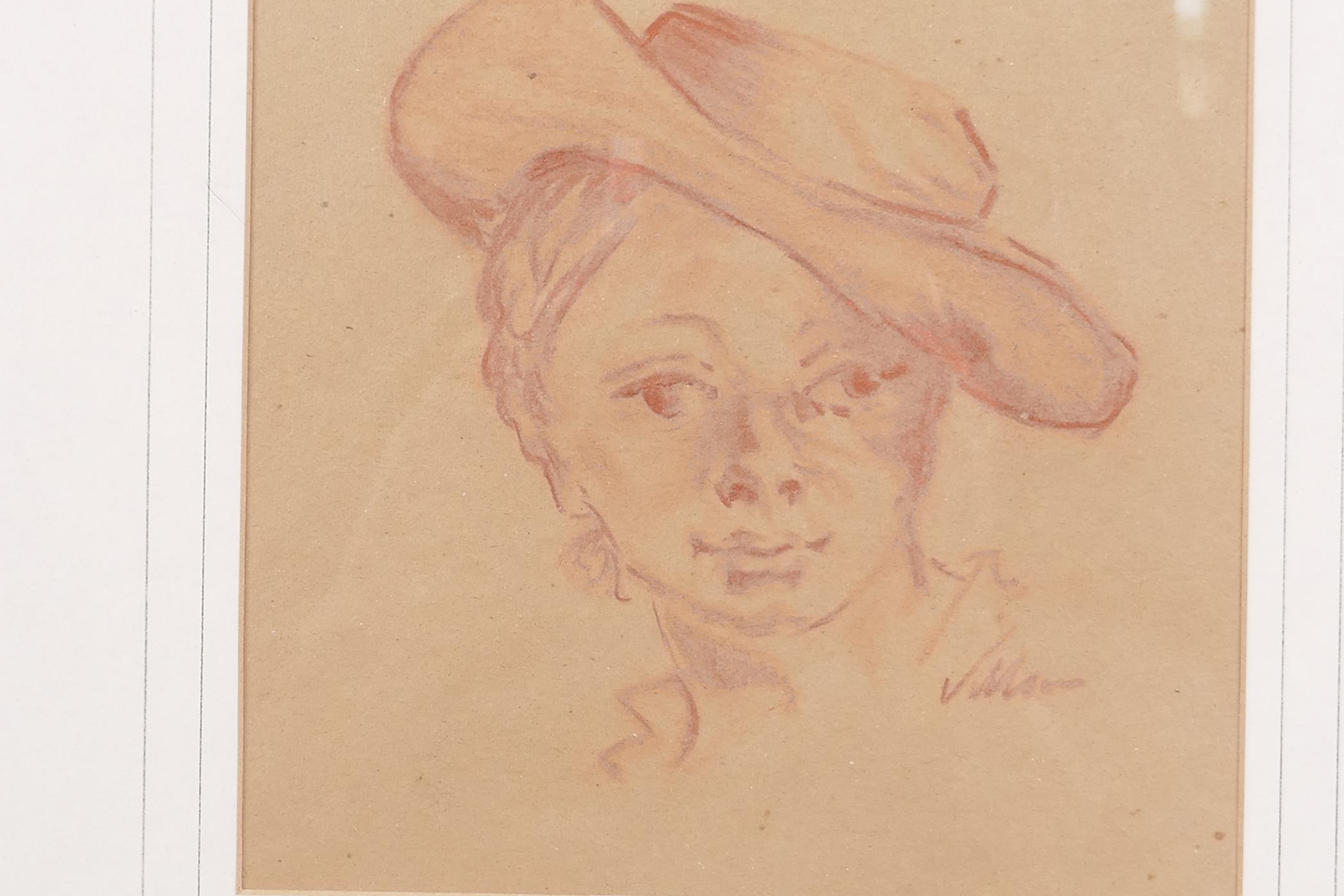 """Jacques Villon, red chalk sketch, study of a boy's head, after the classical, 6½"""" x 7"""", signed - Image 2 of 3"""