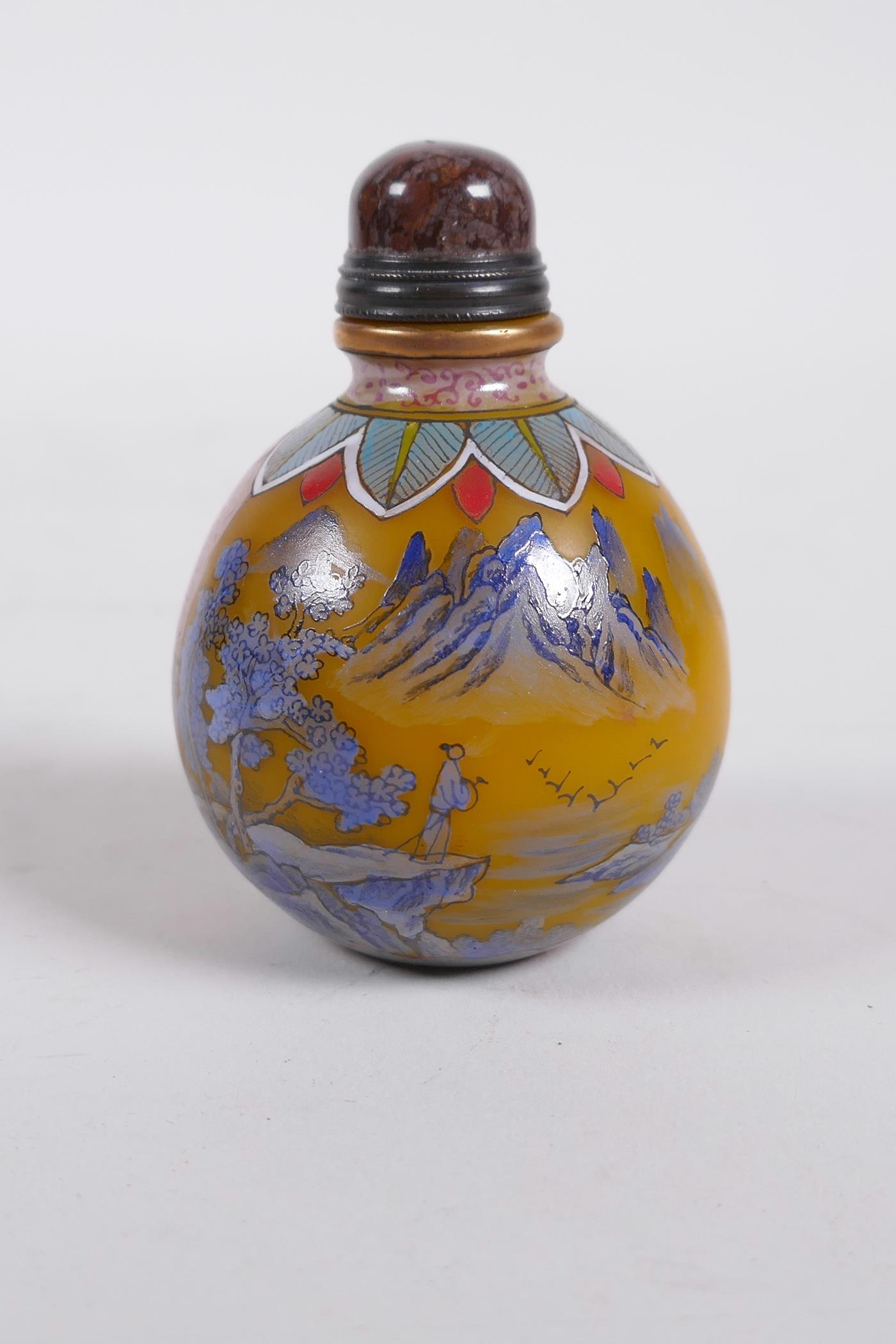A yellow Peking glass snuff bottle decorated with a blue enamel riverside landscape, 4 character - Image 3 of 5