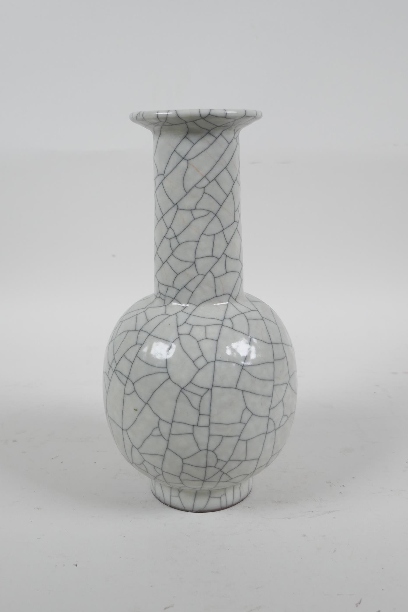 """A Chinese crackleware pottery vase, 8"""" high - Image 2 of 4"""