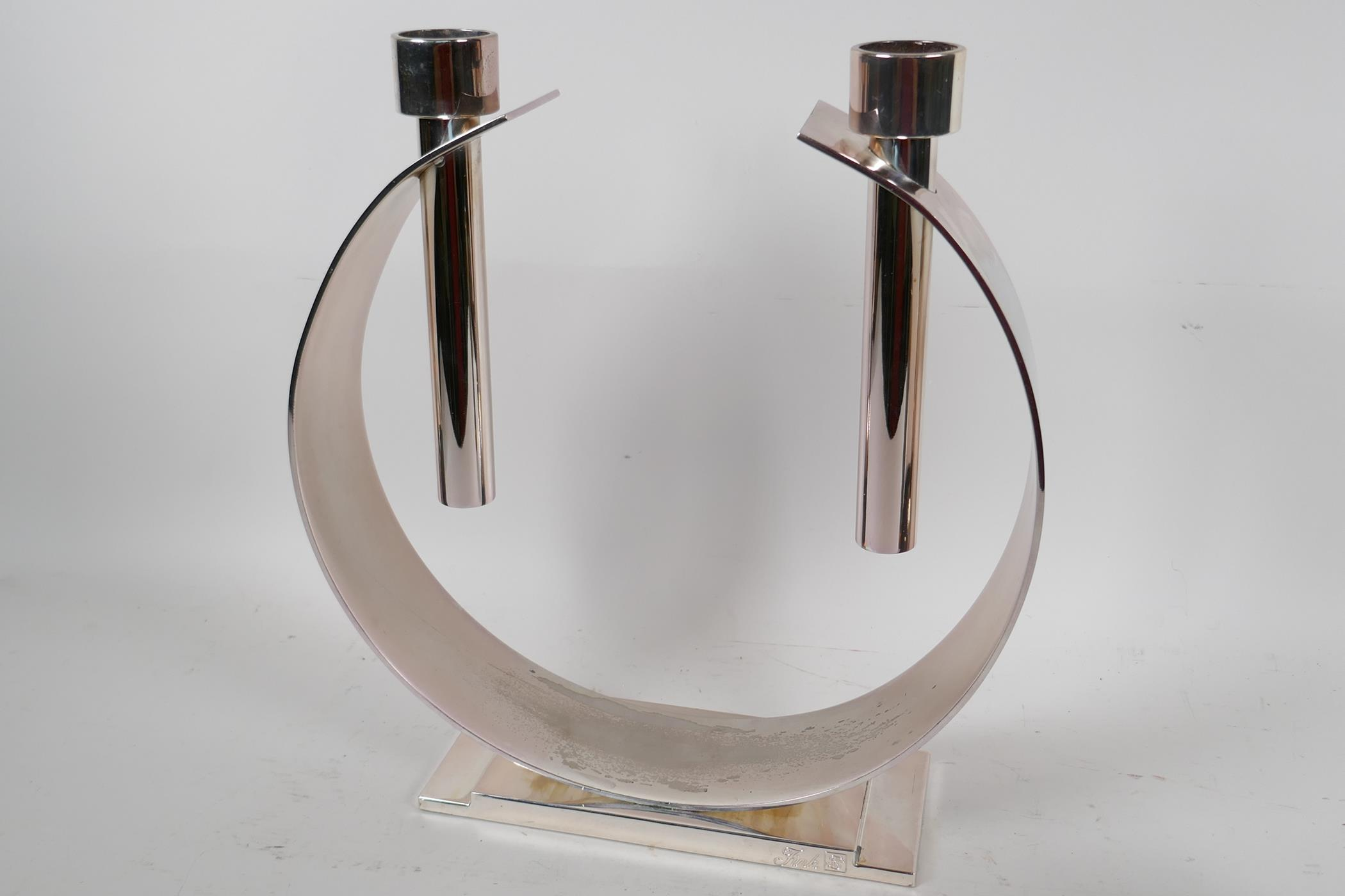 """An unusual plated metal two light candlestick 'The Luna' by FWK, 11½"""" high, together with a - Image 2 of 5"""