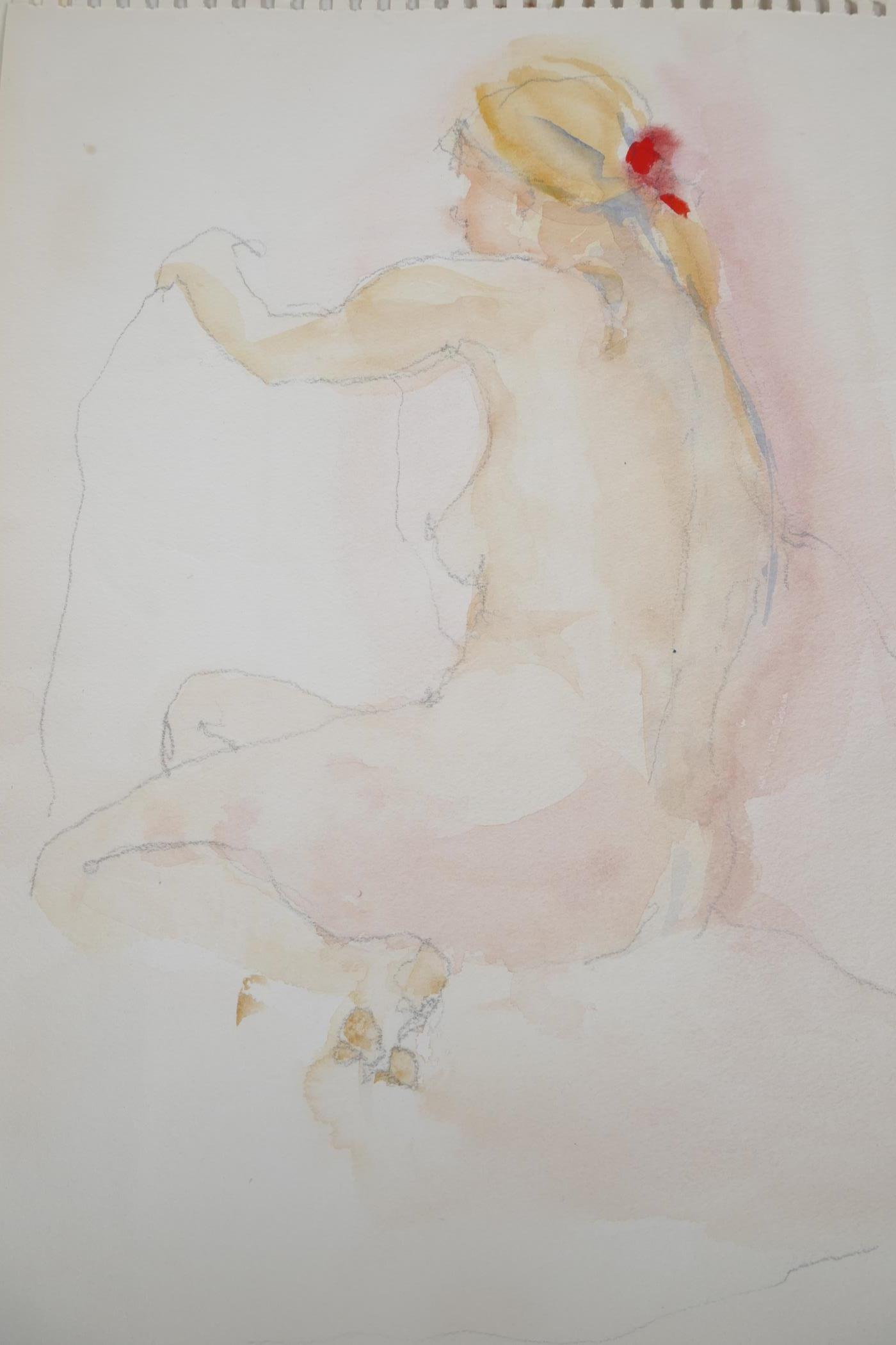 Two unframed watercolour and pencil drawings, interior scene and female figure study, one signed - Image 2 of 4