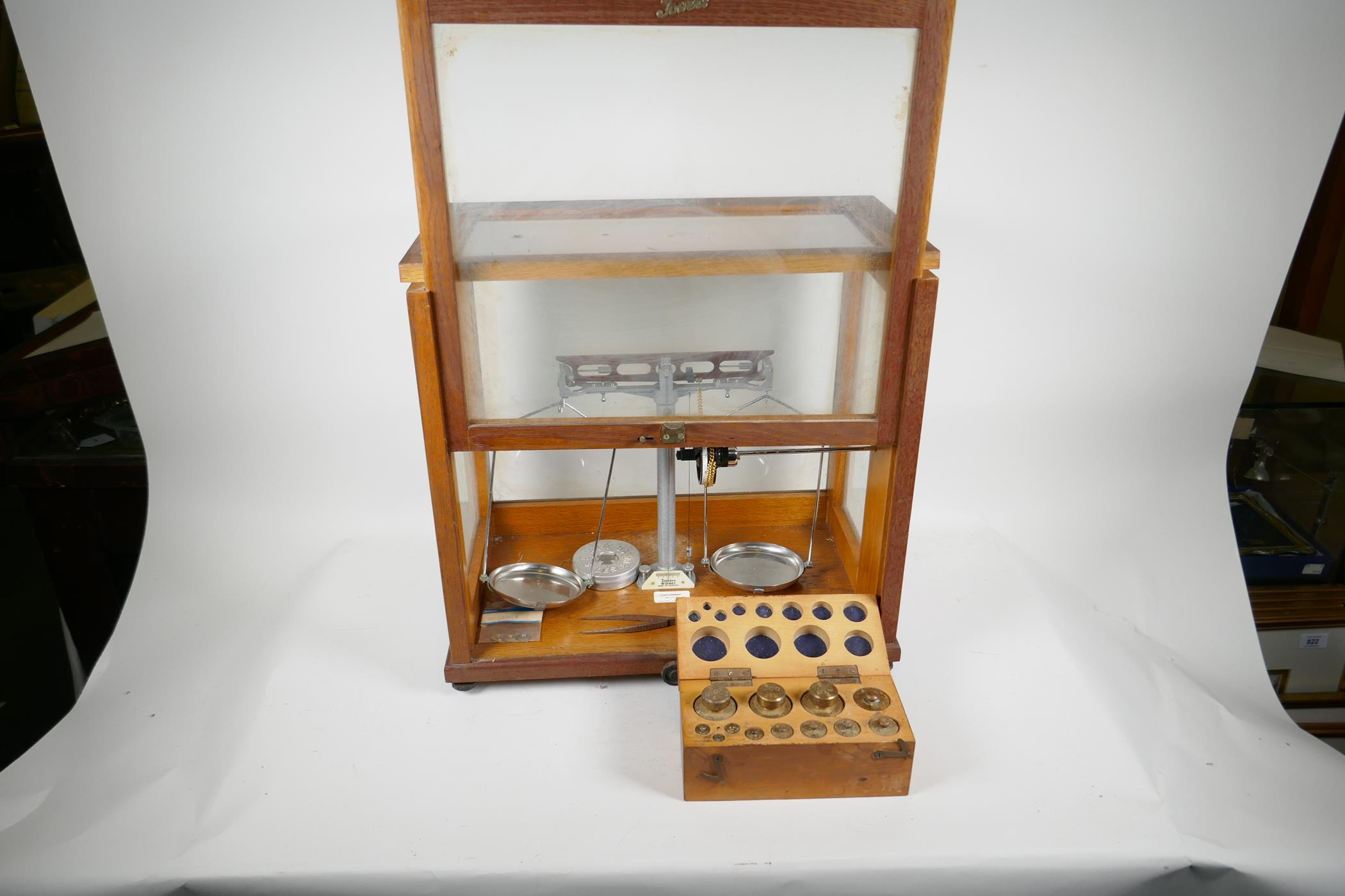 A good set of chemist's scales and weights by Towers of Widnes, together with a cased set of