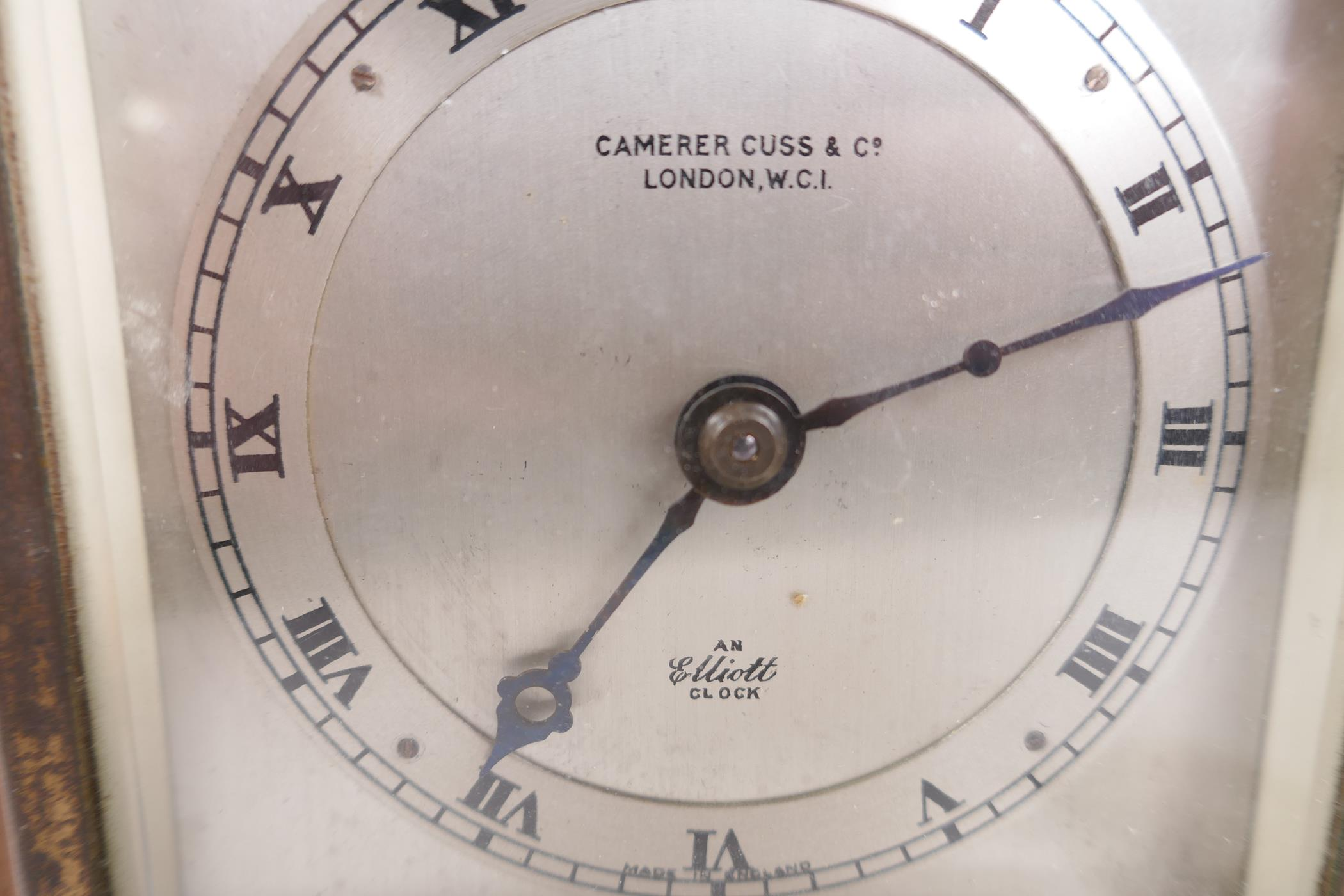A Carrera Cuss walnut cased mantel clock, the silvered dial and chapter ring with Roman numerals and - Image 3 of 4