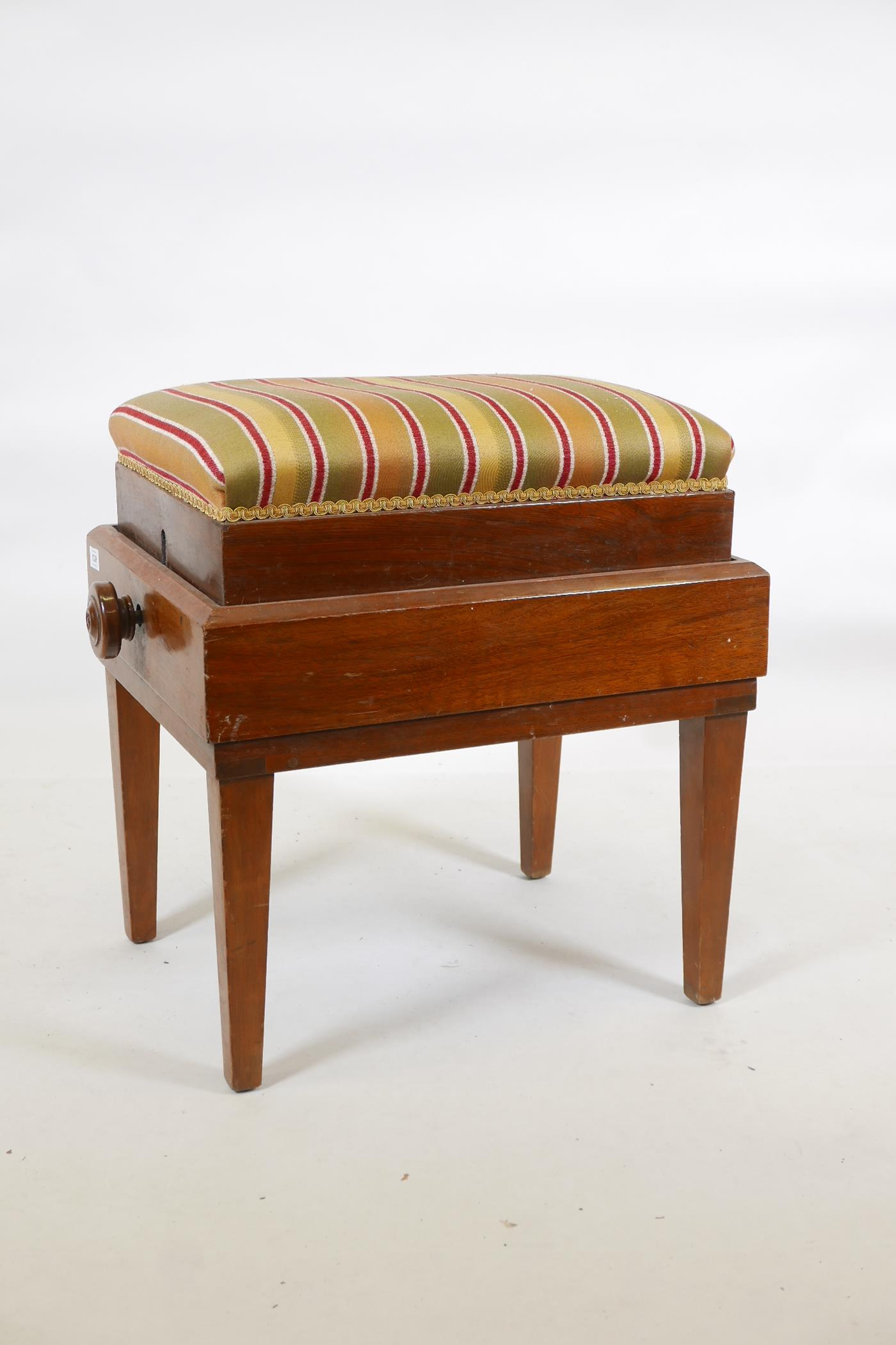 """A mahogany piano stool, with wind up scissor action height adjustment, 17"""" x 22"""" X 23"""" - Image 2 of 3"""