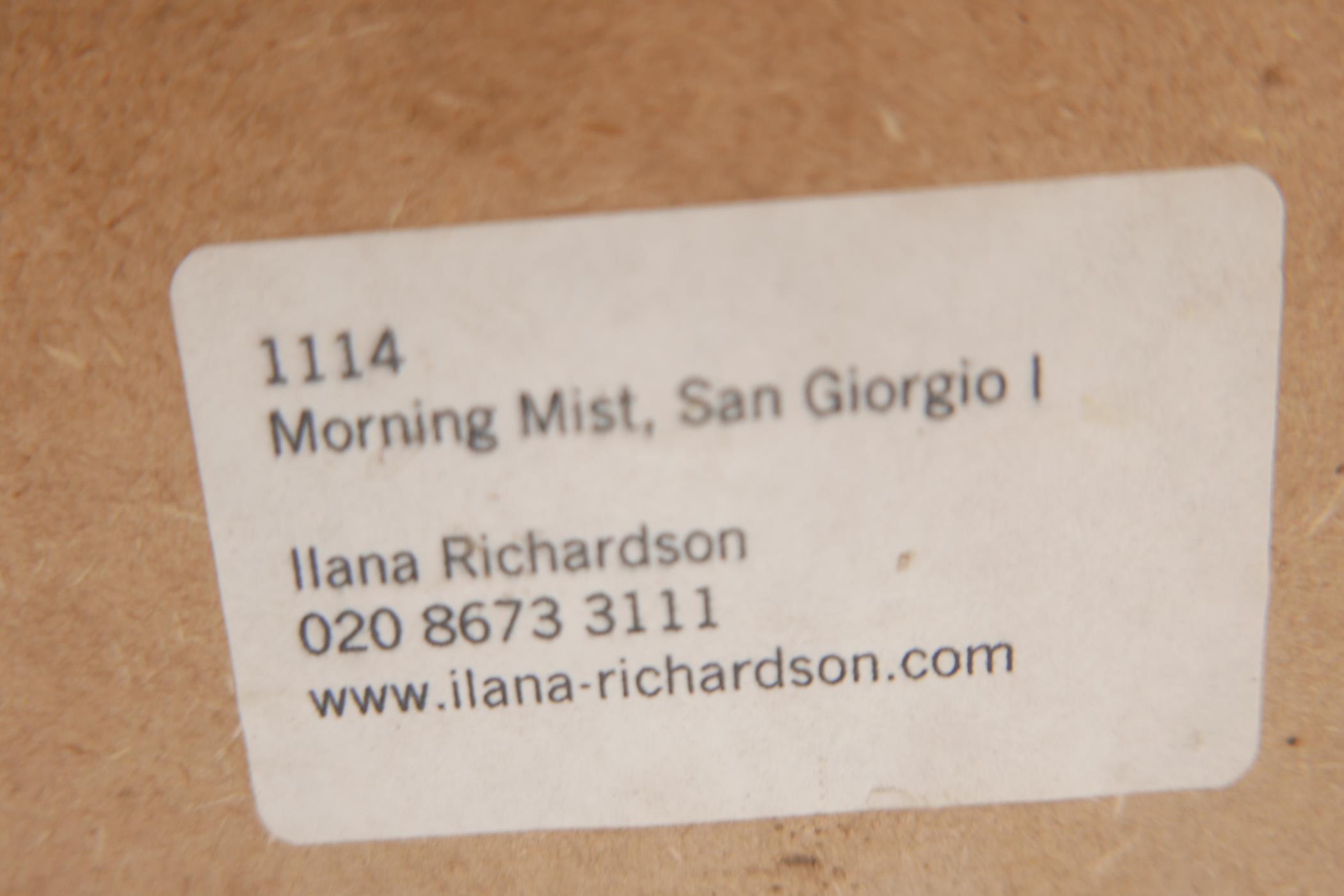 "A colour print of Venice lagoon, Morning mist San Georgio, by Ilana Richardson, 28"" x 20½"" - Image 4 of 4"