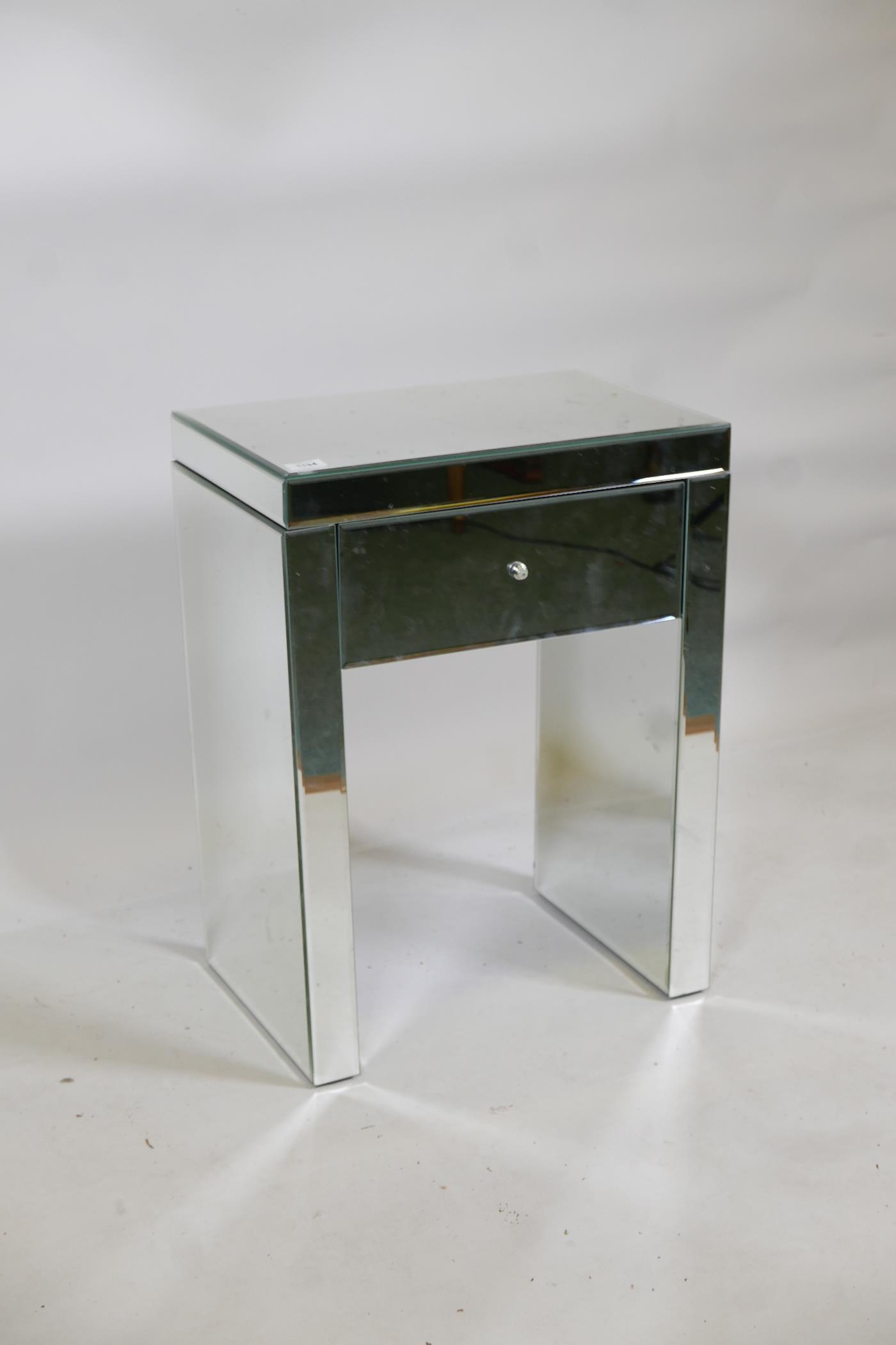 """A contemporary mirrored glass single drawer side table, 20"""" x 13"""" x 26"""" - Image 2 of 3"""