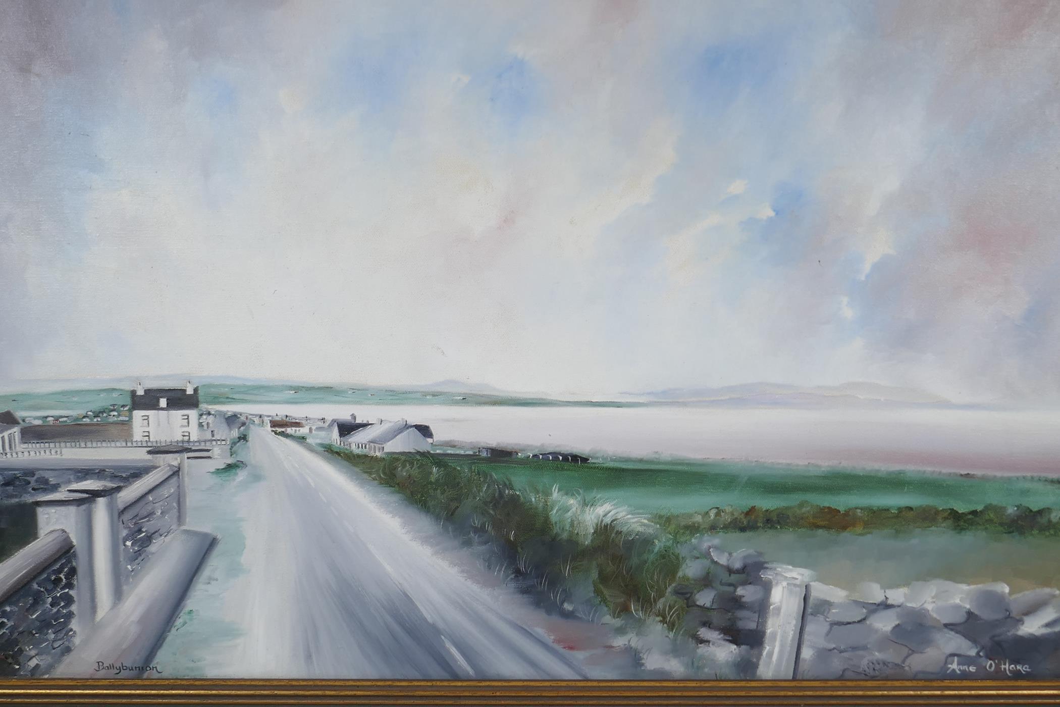 "Anne O' Hara, Irish coastal landscape, titled 'Ballybunion', signed, oil on canvas, 30"" x 18"""