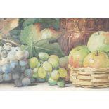 "Arthur Dudley, still life with fruit, watercolour, 29½"" x 10½"""
