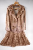 """A lady's full length fur coat (mink), from Charles Moss Furs, approximate size 14, 43"""" long"""