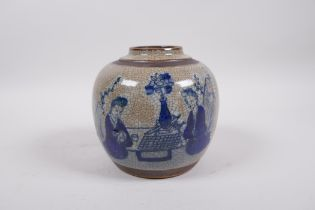 A Chinese Republic blue and white crackle glazed jar, with bronze style bands, decorated with