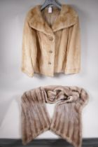 """A lady's blonde fur short jacket, approximate size 14, 21"""" long, together with a silver fur stole,"""
