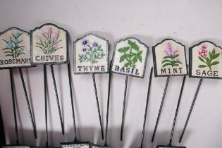 """A set of twelve painted cast iron herb markers, 3"""" x 2¾"""""""