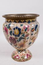 """A C19th Zsolnay porcelain oil lamp base painted with flowers, 8"""" high"""