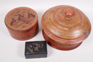"""A Burmese turned and painted circular box and cover, 10½"""" diameter, together with an Indian circular"""