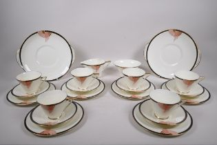A six setting Royal Doulton 'Tango' pattern tea service to include cups, saucers, cake plates,