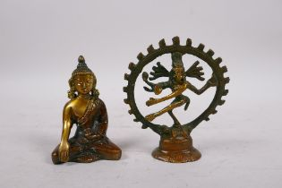 """A Tibetan bronze of a deity with many arms, and another of Buddha, 3½"""" high"""