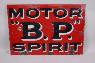 """A vintage B.P. Motor Spirit double sided enamelled metal sign, 21½"""" x 15"""", circa 1920"""