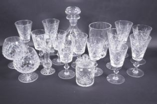 A quantity of good quality glassware including mallet decanter, brandy balloons etc